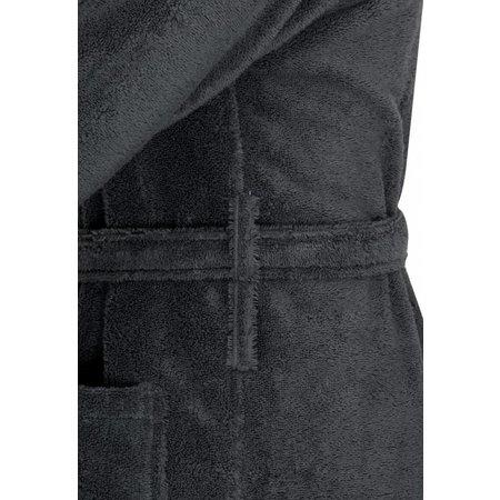 badjas unisex antraciet katoen met capuchon - grote maten badjas