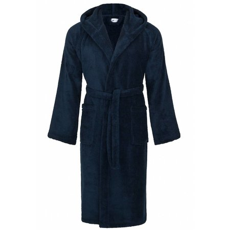 badjas unisex marineblauw katoen met capuchon - grote maten badjas