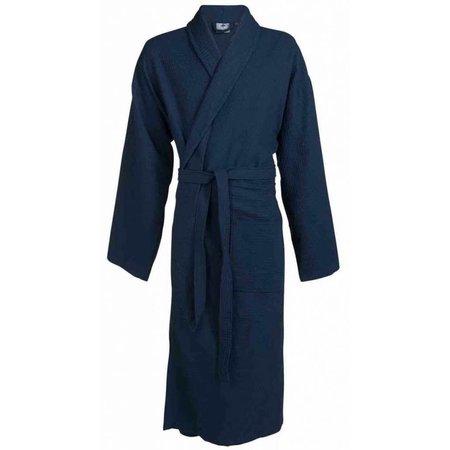 badjas unisex marineblauw katoen kimono - grote maten badjas