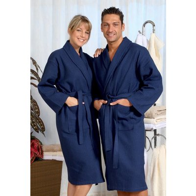 badjas unisex marineblauw wafelkatoen
