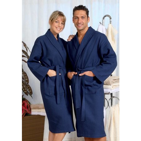 badjas unisex marineblauw katoen wafelstructuur - grote maten badjas