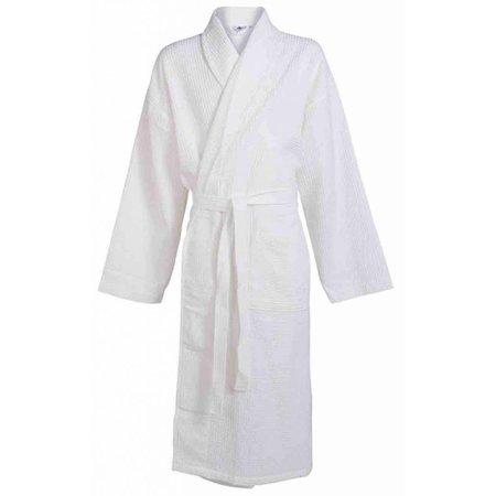 badjas unisex wit katoen wafelstructuur - grote maten badjas