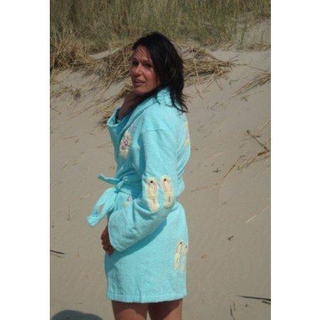 Aegean Apparel badjas dames Flip Flop  katoen met sjaalkraag (one size)