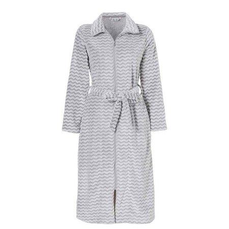 Pastunette badjas dames golfjes grijs fleece met rits