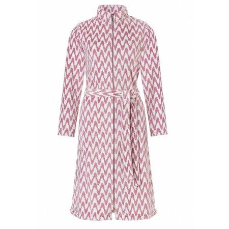 Pastunette badjas dames zigzag roze fleece met rits