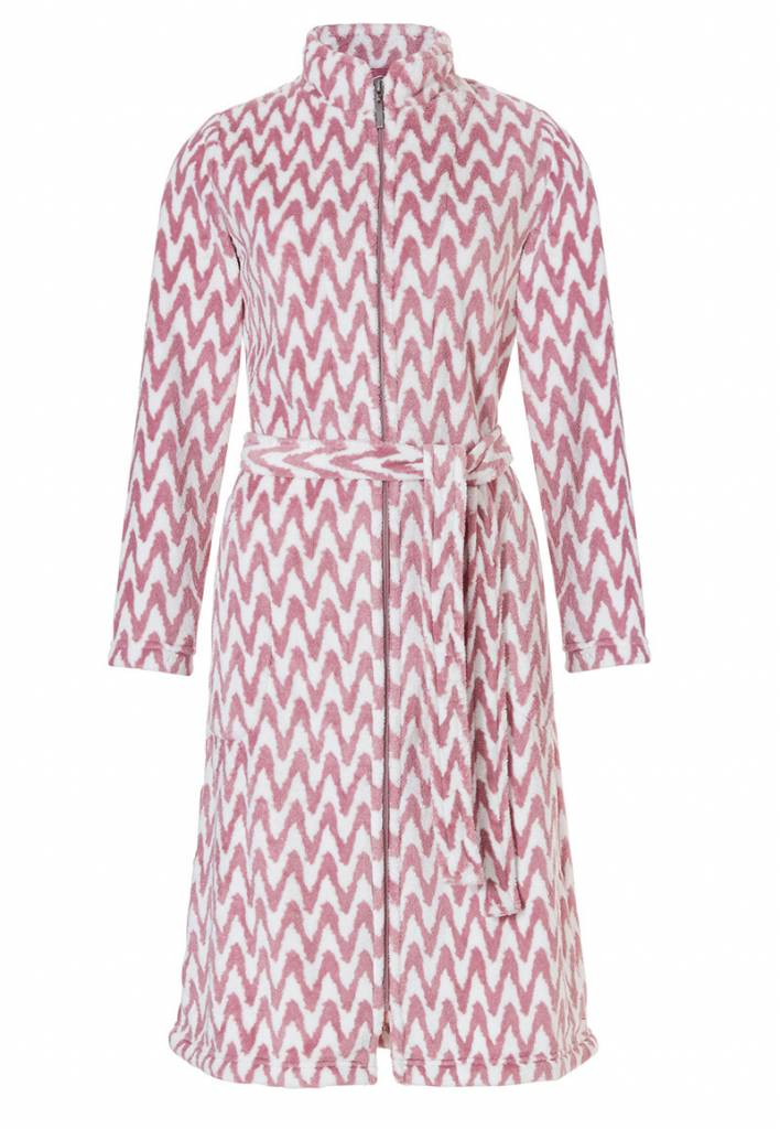33187202e08 badjas dames zigzag roze fleece met rits
