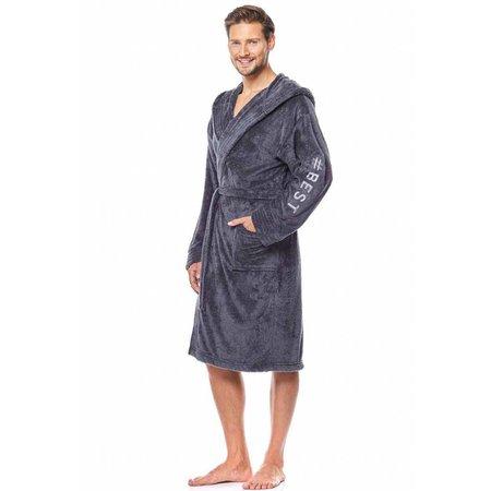 badjas heren #Best antraciet fleece met sjaalkraag