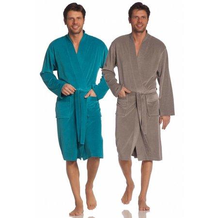 Vossen badjas heren taupe katoen kimono
