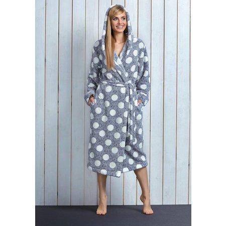 Badjas dames grijs met stippen fleece met capuchon