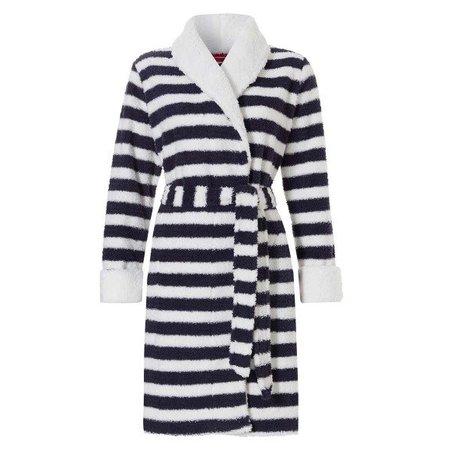 Rebelle badjas dames streep fleece met sjaalkraag