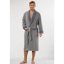 Anna Christina badjas heren grijs Ruiten met sjaalkraag