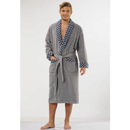 badjas heren grijs Ruiten katoen met sjaalkraag
