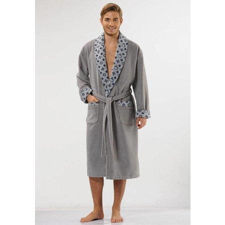 badjas heren grijs Ensemble katoen met sjaalkraag