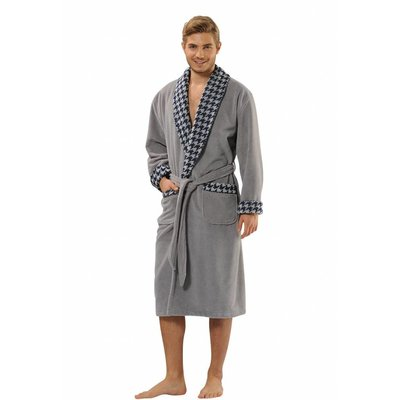 badjas heren grijs Stilisto met sjaalkraag