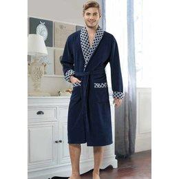 Badjas heren blauw Ruiten met sjaalkraag
