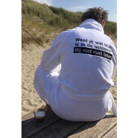 Badrock badjas badjas heren wit Ochtendhumeur katoen met sjaalkraag