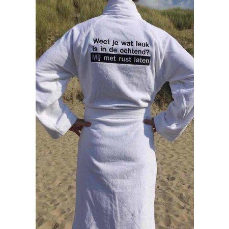 badjas heren wit Ochtendhumeur katoen met sjaalkraag