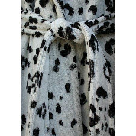 Funky  damesbadjas Snow Leopard katoen met sjaalkraag