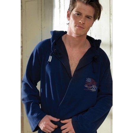 badjas heren blauw Sweater katoen met capuchon