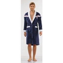 badjas heren blauw Sport Plus met sjaalkraag