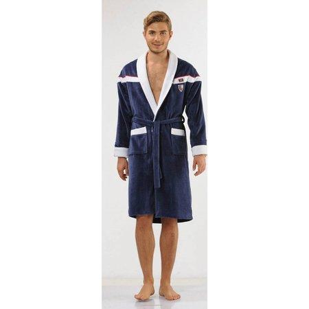 badjas heren blauw Sport Plus katoen met sjaalkraag