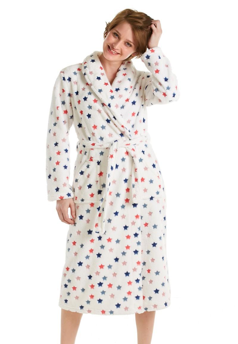 Eskimo badjas dames stars fleece met sjaalkraag