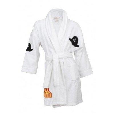 Aegean Apparel badjas kind wit Little Pirate met sjaalkraag