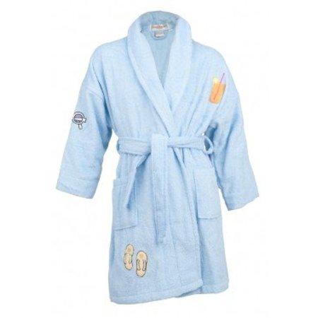 Aegean Apparel badjas kind blauw Little Summer Fun katoen met kraag