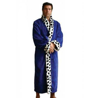 Funky Badjas herenbadjas King blauw met sjaalkraag
