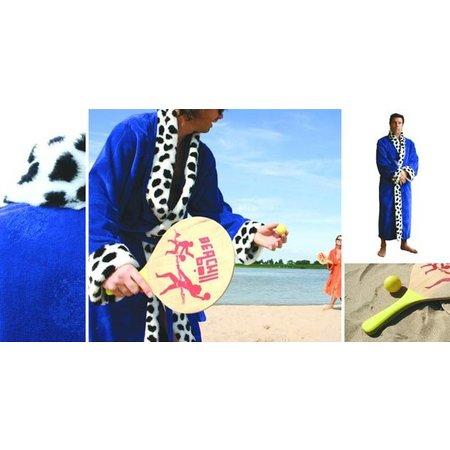 Funky Badjas herenbadjas King blauw katoen met sjaalkraag