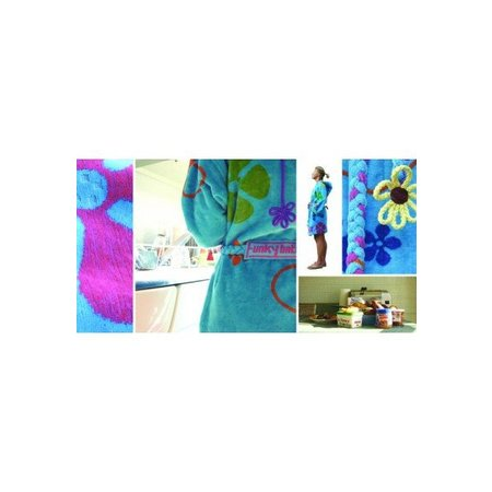 Funky  damesbadjas sixties blauw katoen met capuchon