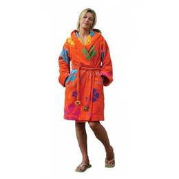 Funky  damesbadjas sixties oranje met capuchon