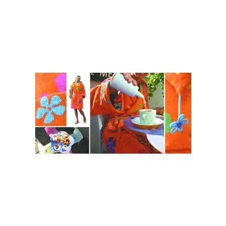 Funky  damesbadjas sixties oranje katoen met capuchon