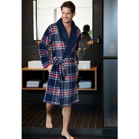 Pastunette badjas heren Schotse Ruit fleece met sjaalkraag