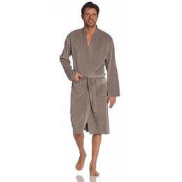 Vossen badjas heren taupe kimono