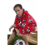 Playshoes badjas kind Voetbal rood met capuchon
