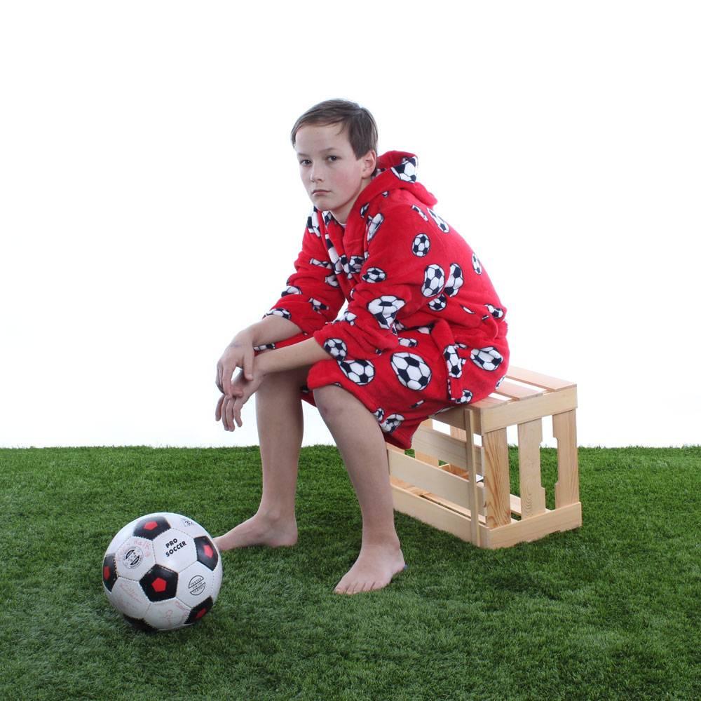 7b8d13eaa6a badjas kind Voetbal rood fleece met capuchon