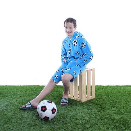 Playshoes badjas kind Voetbal blauw fleece met capuchon