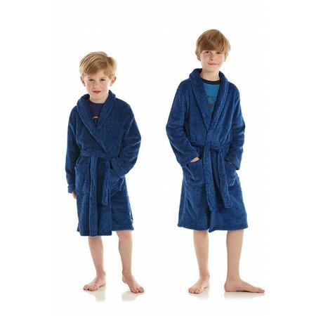 Eskimo badjas kind Blauw fleece met sjaalkraag