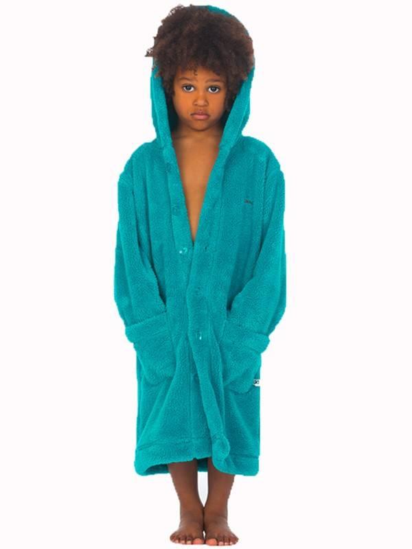 db1bed5b444 Badjas kind Turquoise fleece capuchon: laat het snel koud worden ...