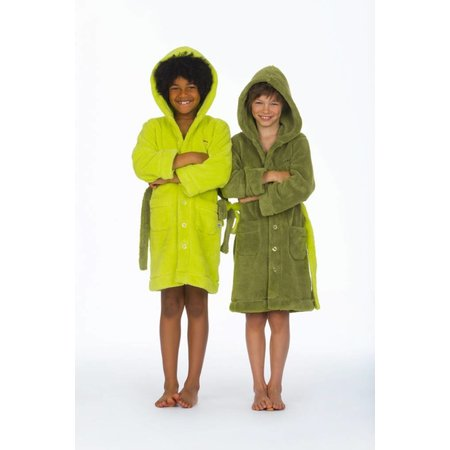 Woody Badjas kind Green C fleece met capuchon