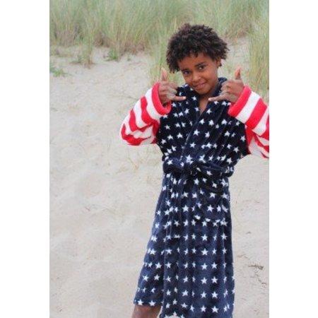 badjas kind USA fleece met sjaalkraag