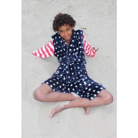 Badrock badjas kind USA fleece met sjaalkraag