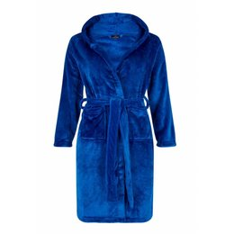 Badrock badjas kind Tiener Koningsblauw met capuchon - fleece