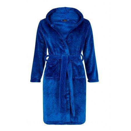 badjas kind Tiener Koningsblauw met capuchon - fleece