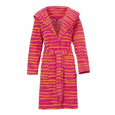 Vossen badjas dames Cora roze/oranje met capuchon