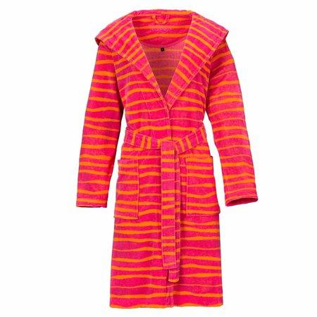Vossen badjas dames Cora streep diep roze/oranje met capuchon