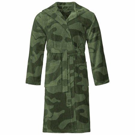 Vossen badjas unisex groen Legerprint katoen met capuchon