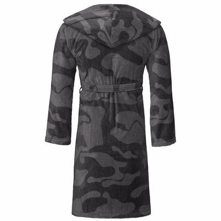 Vossen badjas unisex grijs Legerprint katoen met capuchon