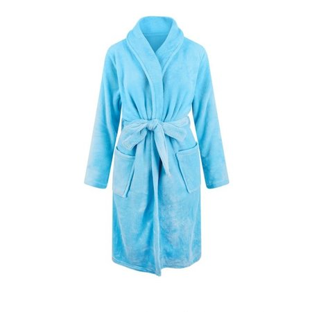 Relax Company fleece badjas licht blauw